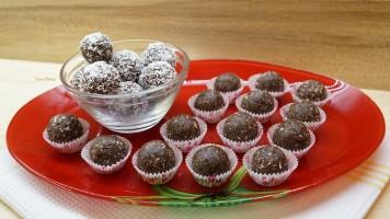 Bomboane de casa cu nuca si cacao, desert rapid