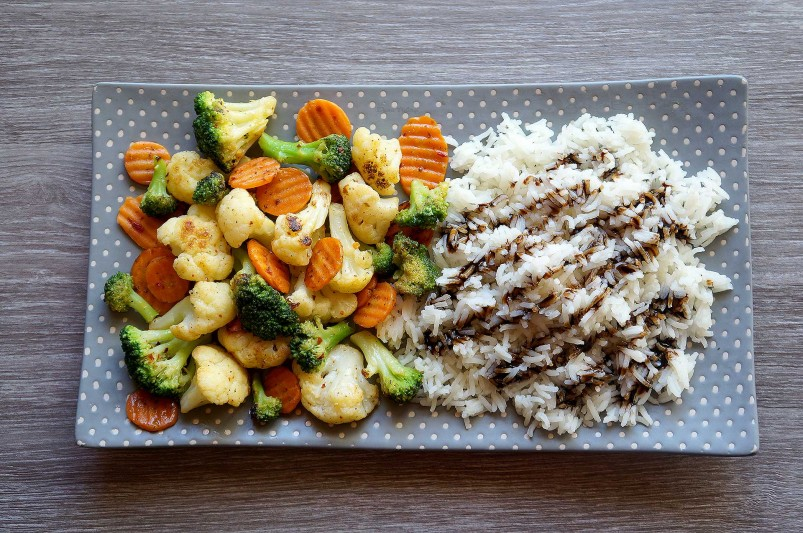 Orez cu mix de legume congelate la tigaie(sote)